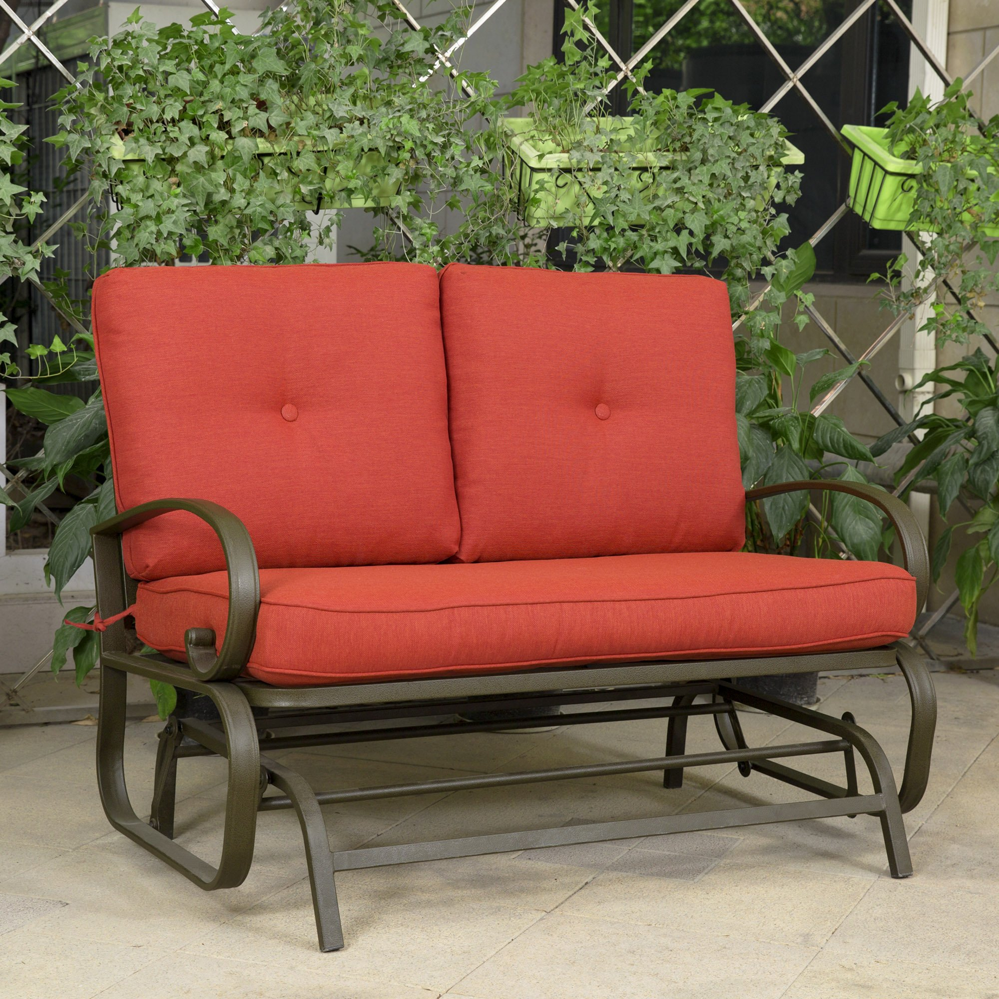 Buy Outdoor Patio Leisure Swing Rocker Glider Bench Loveseat Intended For Outdoor Steel Patio Swing Glider Benches (View 18 of 25)