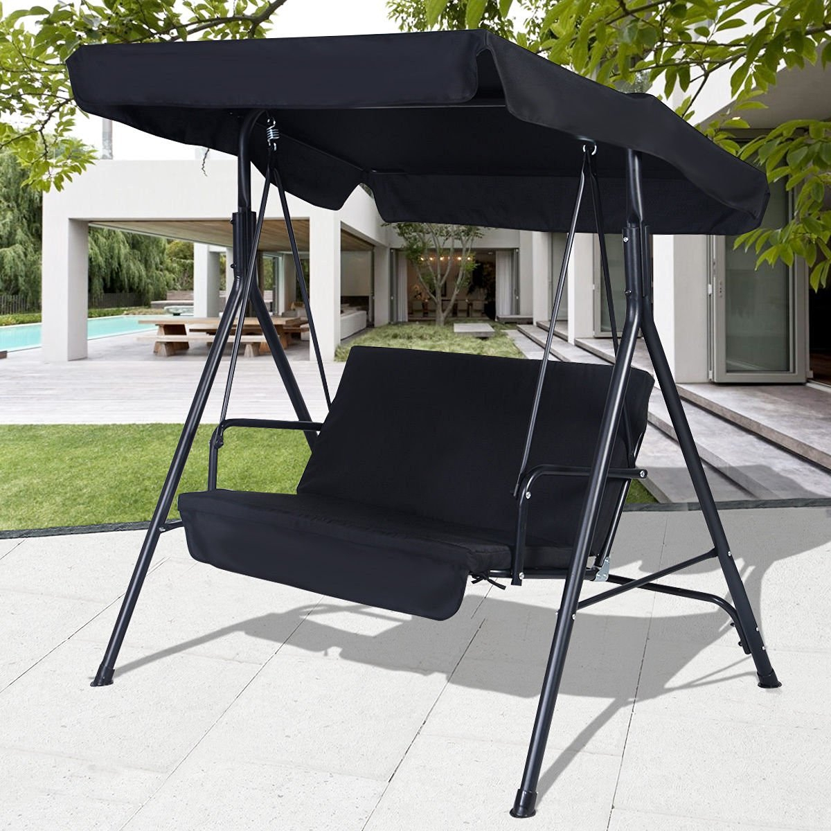 Buy Swings Black Outdoor Patio Swing Canopy Awning Yard Throughout 2 Person Black Steel Outdoor Swings (View 3 of 25)