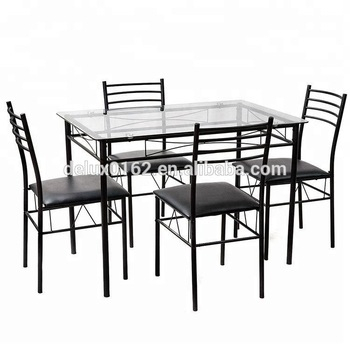 C344 Square Glass Dining Table And Chair Sets Metal Legs And Top Glass Dining Table With Modern Design Dining Room Furniture – Buy Glass Top Dining Regarding Glass Dining Tables With Metal Legs (View 3 of 25)