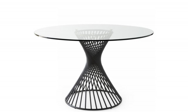 Calligaris Vortex – Cs/4108 Rd 120Cm Ø Dining Table With Glass Top And Matt Black Frame With Regard To Round Glass Top Dining Tables (View 7 of 26)