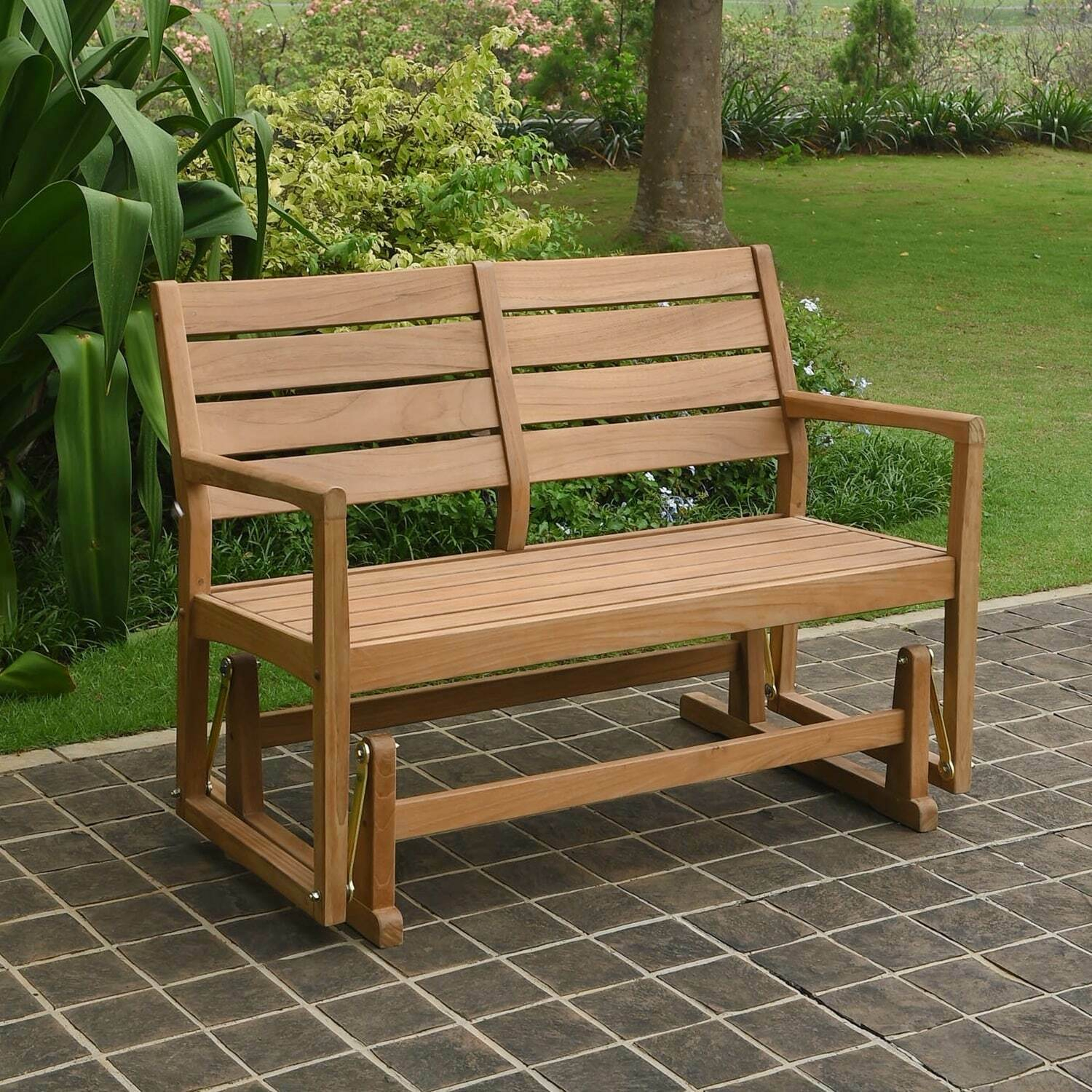 Cambridge Casual Andrea Teak Glider Bench Tan Single In Teak Outdoor Glider Benches (View 10 of 25)