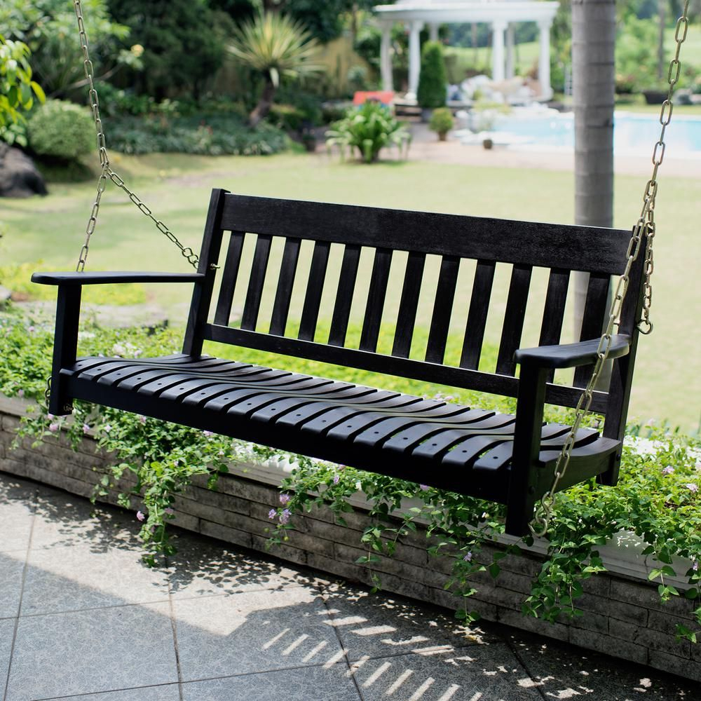 Cambridge Casual Thames Black Wood Porch Swing | Chelsea Within CasualThames White Wood Porch Swings (View 2 of 25)