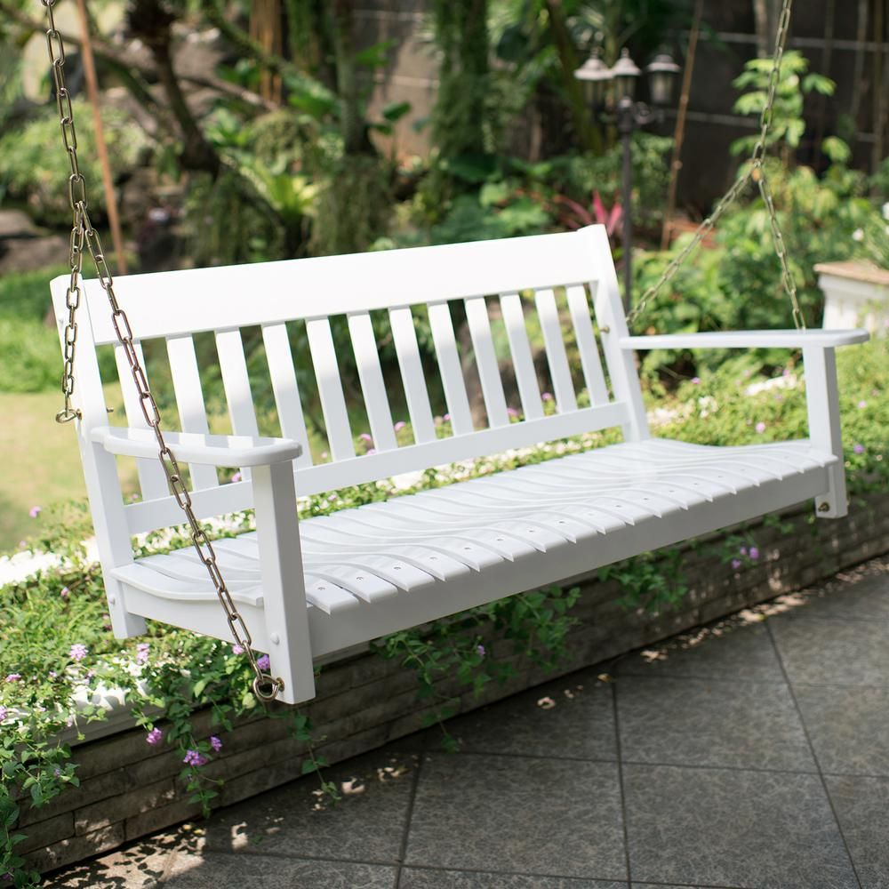 Cambridge Casual Thames White Wood Porch Swing In 2019 With Regard To Casual Thames Black Wood Porch Swings (View 3 of 25)