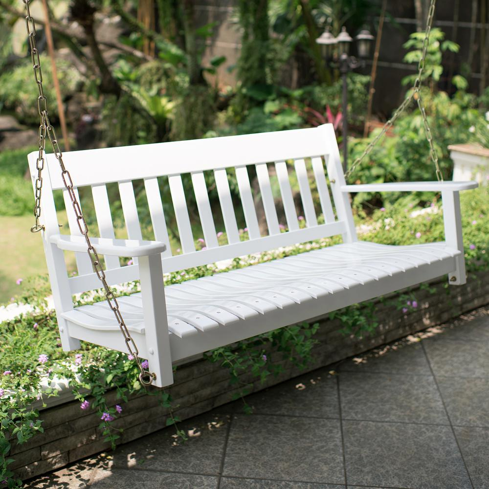Featured Image of Casual Thames White Wood Porch Swings