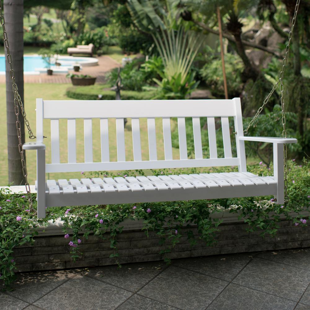 Cambridge Casual Thames White Wood Porch Swing Throughout CasualThames White Wood Porch Swings (View 3 of 25)