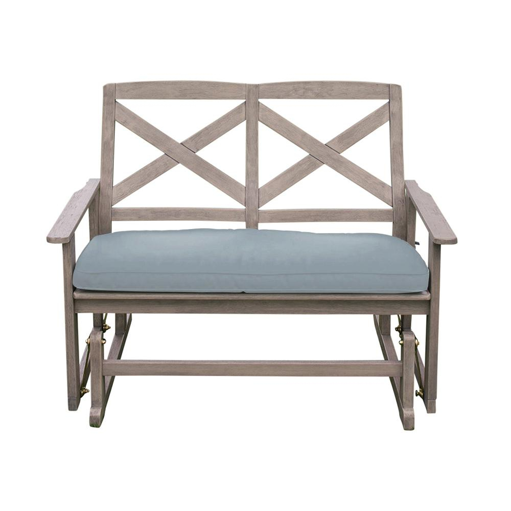 Cambridge Casual Tulle Wood Outdoor Glider Bench With Teal Cushion Pertaining To Outdoor Fabric Glider Benches (View 17 of 25)