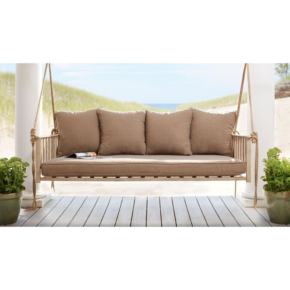 Cane Patio Outdoor Patio Swing With Square Back Cushions For Canopy Patio Porch Swings With Pillows And Cup Holders (View 11 of 25)