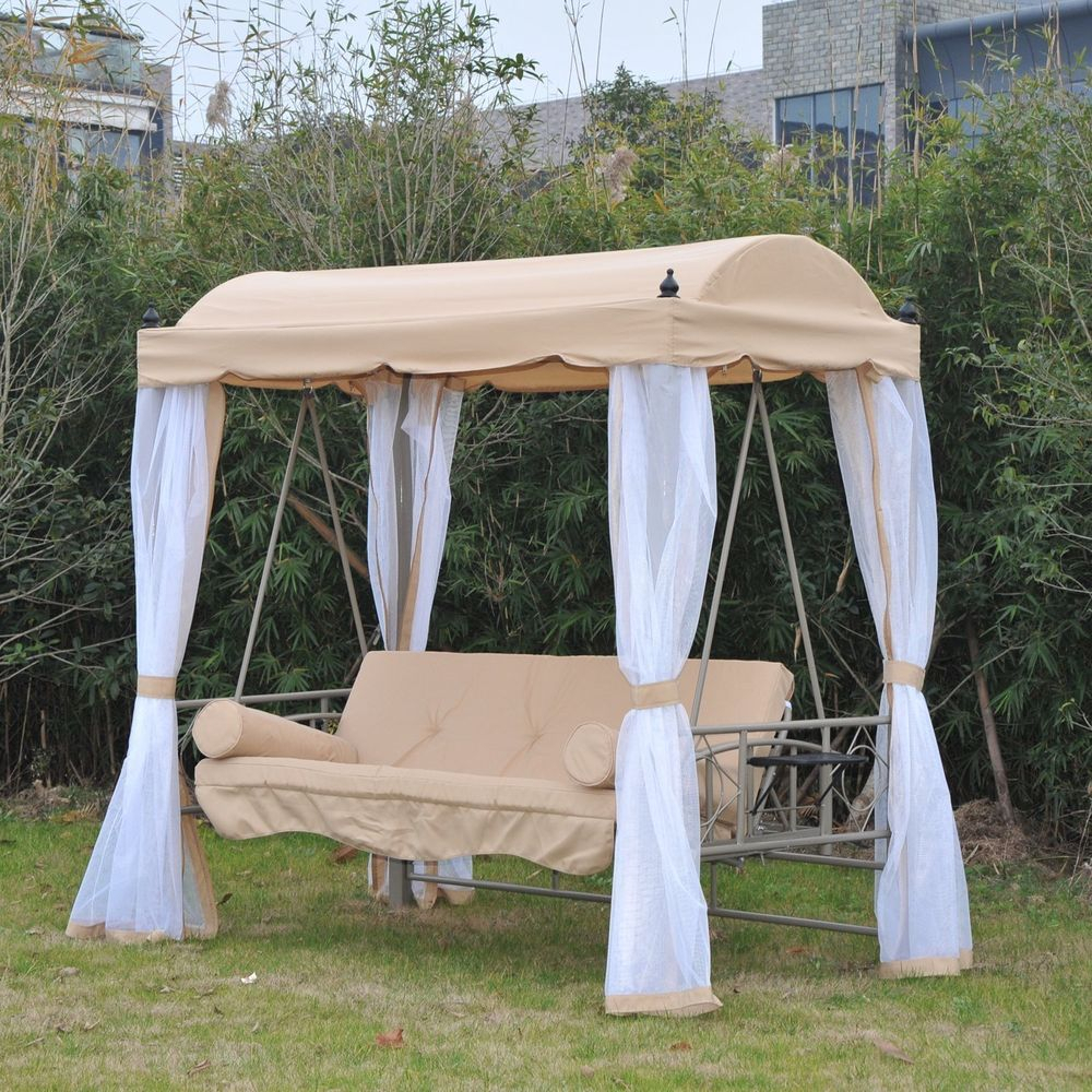 Canopy Gazebo 3 Person Daybed Outdoor Patio Swing Porch In Patio Gazebo Porch Canopy Swings (View 5 of 25)