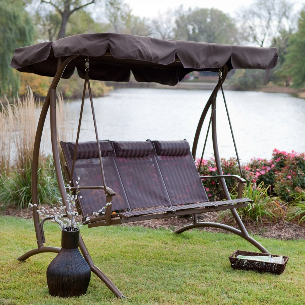 Canopy: Yard Swings With Canopy Intended For 3 Person Brown Steel Outdoor Swings (View 21 of 25)