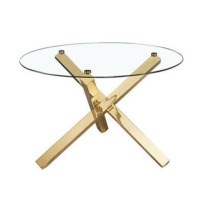 Capri Round Glass Top Dining Table With Gold Finished Legs For Modern Gold Dining Tables With Clear Glass (View 21 of 26)