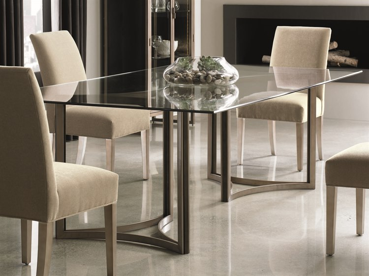 Caracole Modern Artisans Clear Glass With Matte Gold & Dark Within Fumed Oak Dining Tables (View 23 of 25)
