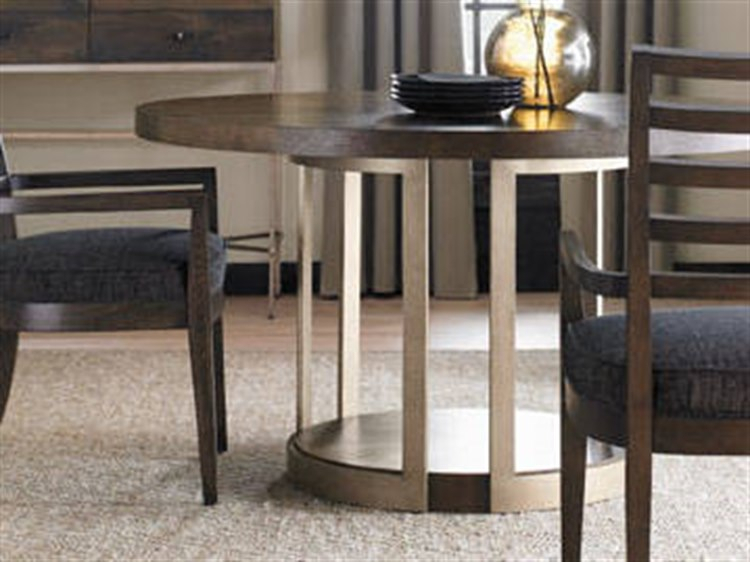 Caracole Modern Artisans Dark Fumed Oak With Matte Gold 54'' Wide Round  Pedestal Dining Table With Fumed Oak Dining Tables (View 16 of 25)