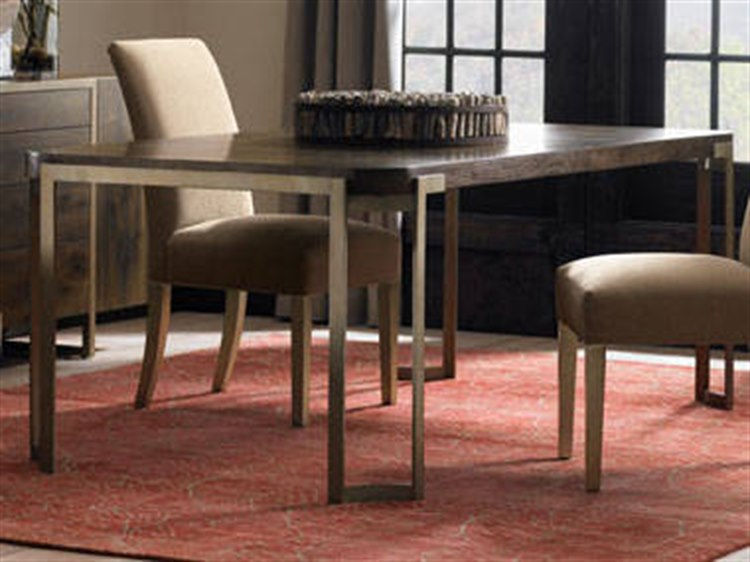 Caracole Modern Artisans Dark Fumed Oak With Matte Gold 80 100''w X 42''d  Rectangular Extension Dining Table With Extension Within Fumed Oak Dining Tables (View 18 of 25)