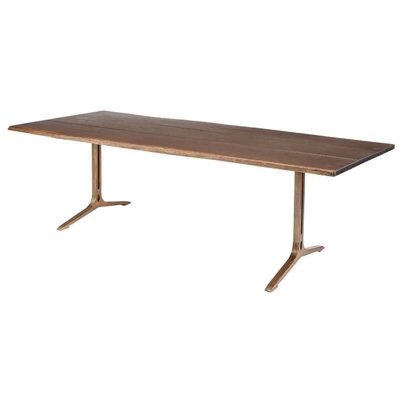 Carmelina Dining Table Seared | Dining Table, Dining, Table For Dining Tables In Seared Oak With Brass Detail (View 4 of 25)