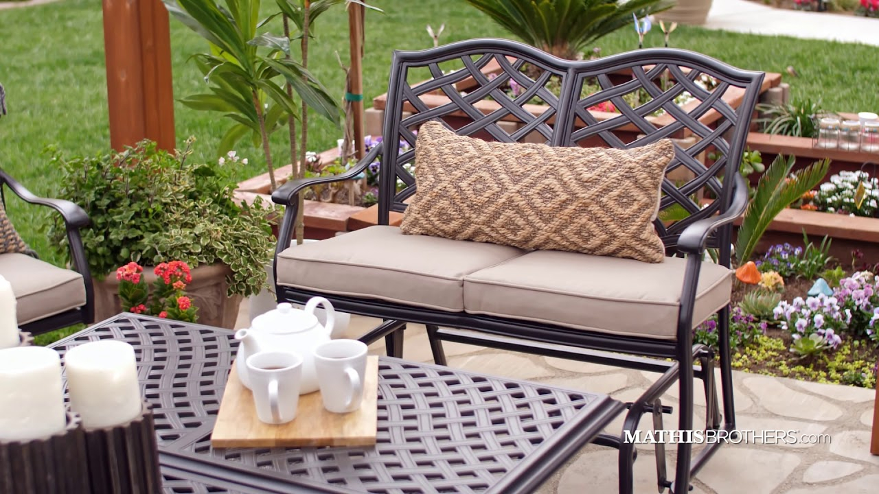 Cast Aluminum Bench Glider In Brown Inside Aluminum Glider Benches With Cushion (View 24 of 25)