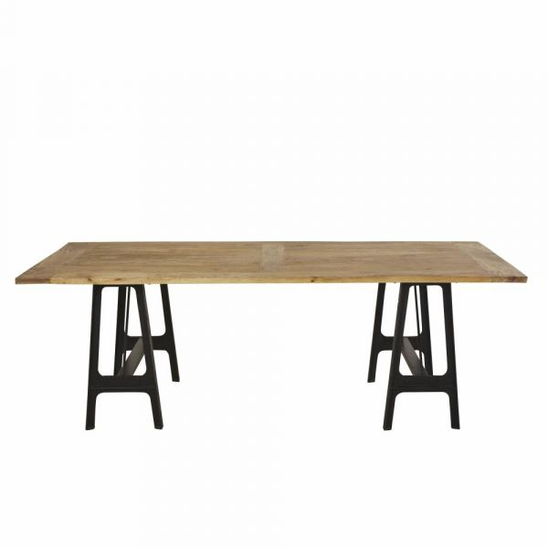 Cast Iron And Mango Wood 8 10 Seater Dining Table Inside Iron Dining Tables With Mango Wood (View 8 of 25)