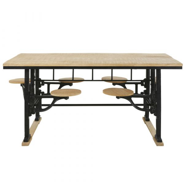 Cast Iron And Mango Wood 8 Seater Dining Table With Stools In Iron Dining Tables With Mango Wood (View 2 of 25)