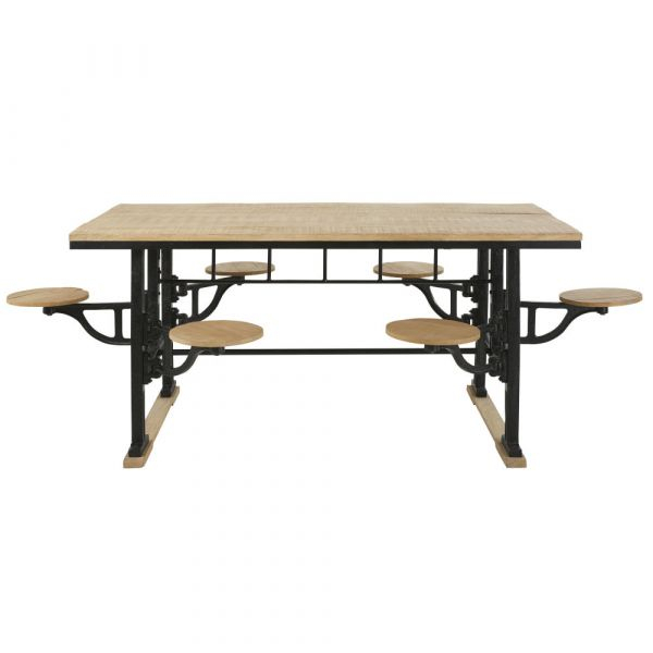 Cast Iron And Mango Wood 8 Seater Dining Table With Stools Intended For Iron Dining Tables With Mango Wood (View 20 of 25)