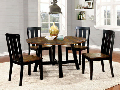 Casual 5 Pc Two Tone Round Dining Table Set Antique Oak & Black Dining Furniture | Ebay Throughout Antique Black Wood Kitchen Dining Tables (View 9 of 25)