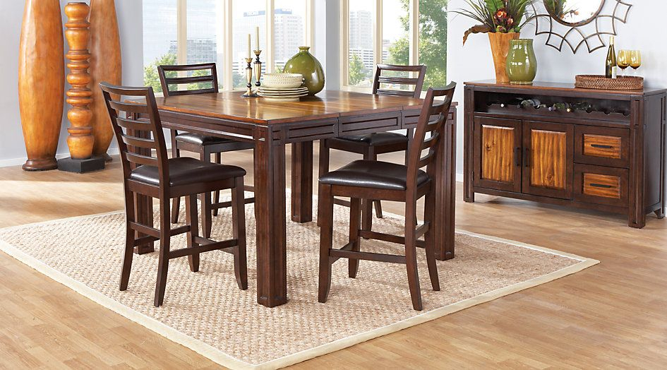 Casual Dining Tables Adelson Chocolate 5 Pc Counter Height Regarding Transitional Antique Walnut Square Casual Dining Tables (View 2 of 25)