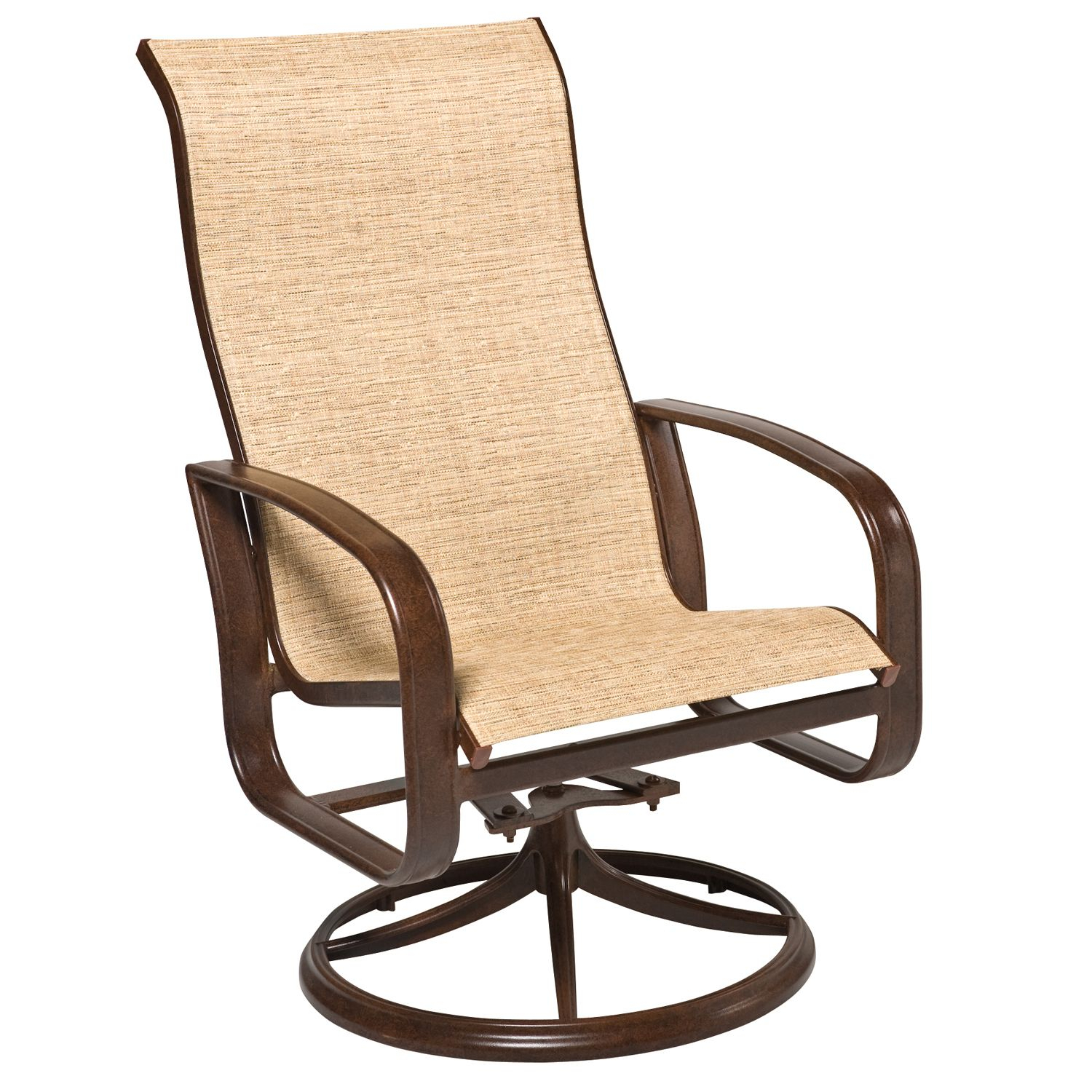 Cayman Isle Padded Sling High Back Swivel Rocking Dining Armchair Inside Sling High Back Swivel Chairs (View 5 of 25)