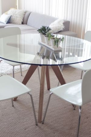 Cb2 Modern Teepee Glass Dining Table | Glass Dining Table With Regard To Glass Top Condo Dining Tables (View 2 of 25)