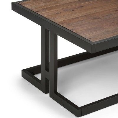Cecilia Solid Acacia Wood Coffee Table Rustic Natural Aged Intended For Acacia Dining Tables With Black Rocket Legs (Image 6 of 25)