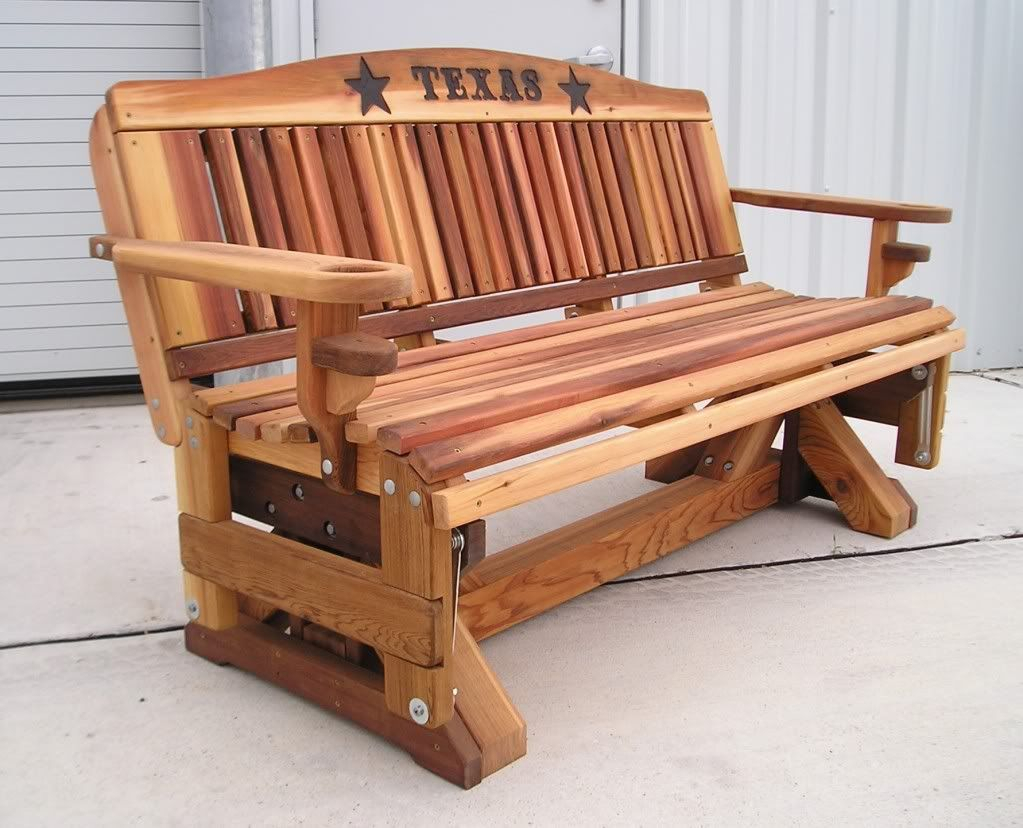 Cedar Glider Benches   Cedar Bench, Porch Swing, Furniture For Rocking Glider Benches (View 4 of 25)
