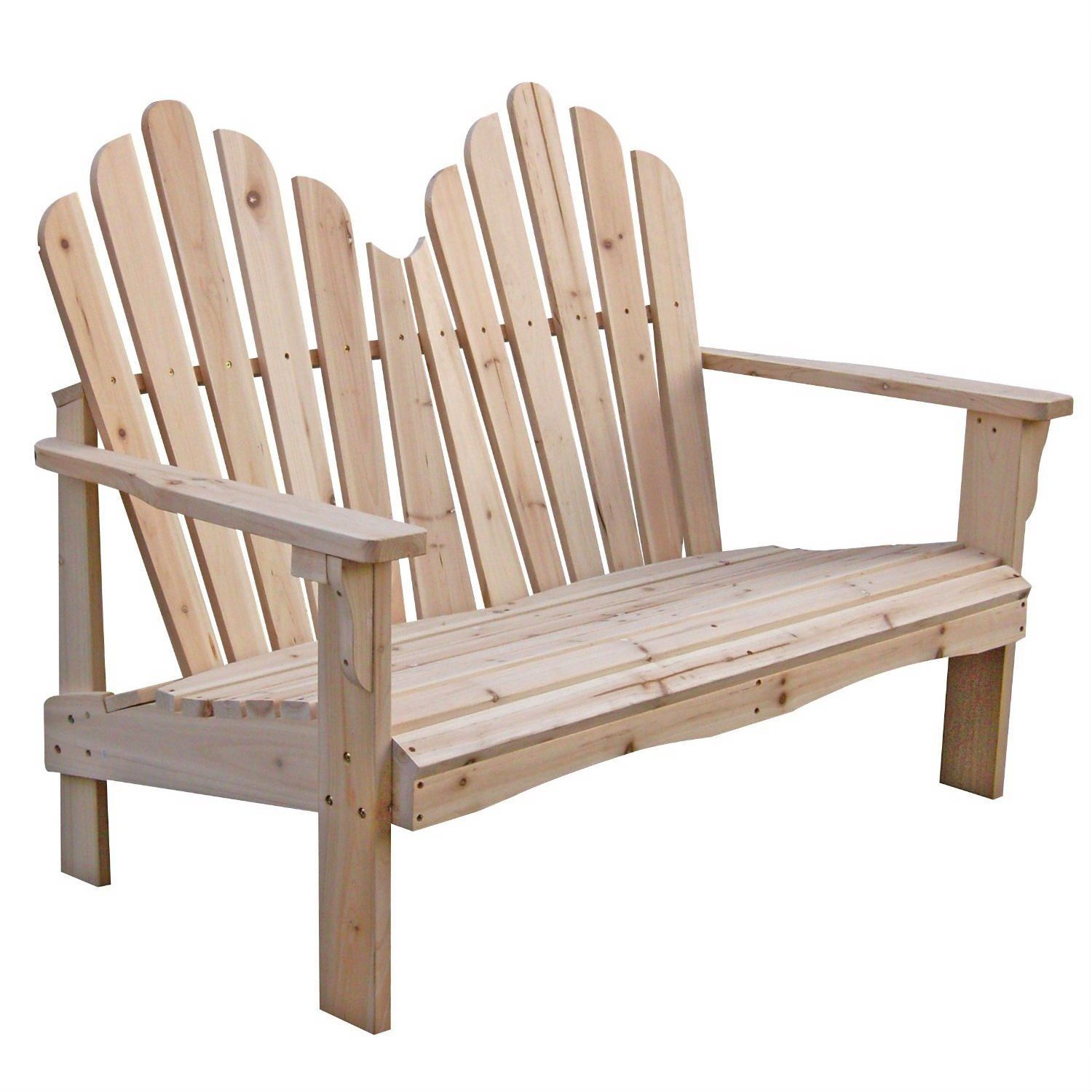 Cedar Wood Outdoor Patio 2 Seat Adirondack Chair Style With 2 Person Natural Cedar Wood Outdoor Gliders (Image 9 of 25)