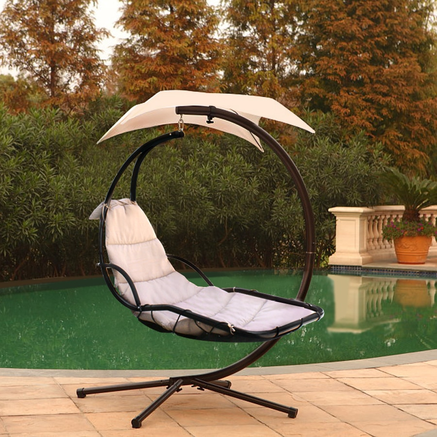 Chaise Lounger Hanging Chair Arc Stand Air Porch Swing Within Canopy Patio Porch Swing With Stand (View 12 of 25)