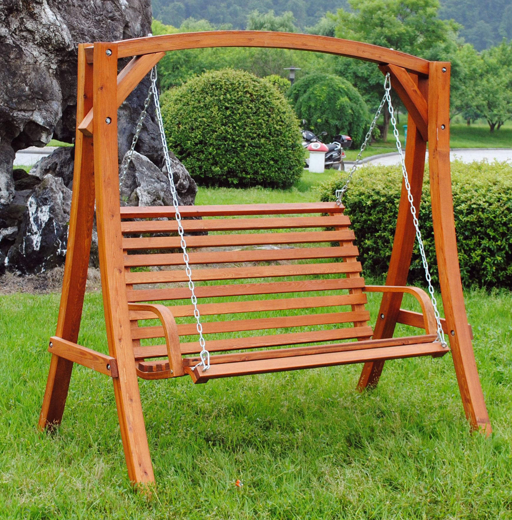 Charles Bentley Garden Wooden Swing Seat | Outdoor Wooden With Cedar Colonial Style Glider Benches (View 24 of 25)