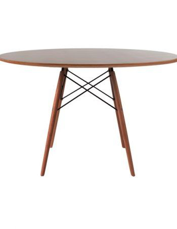 Charles & Ray Eames Style Walnut Round Dining Table Walnut Legs 120 Cm In Eames Style Dining Tables With Wooden Legs (View 3 of 25)