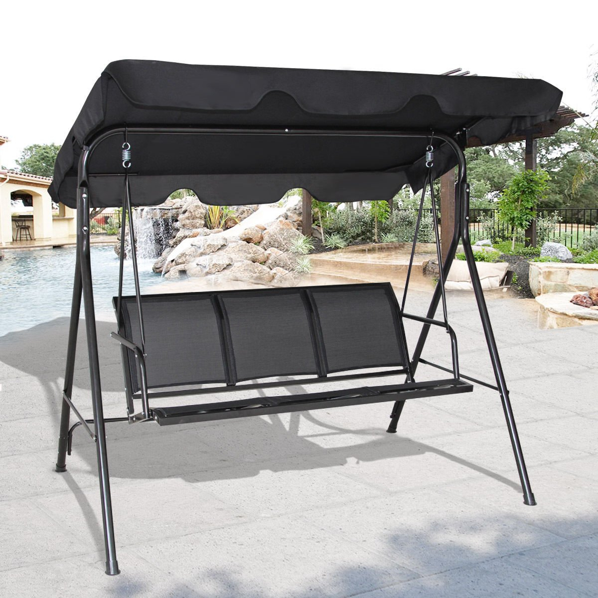 Cheap Patio 3 Person Swing, Find Patio 3 Person Swing Deals Pertaining To Patio Loveseat Canopy Hammock Porch Swings With Stand (Image 9 of 25)