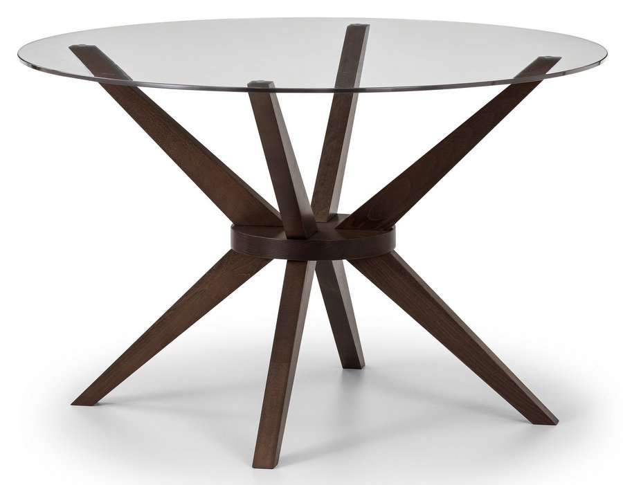 Chelsea Glass Top Round Dining Table With Walnut Finish Base With Regard To Round Dining Tables With Glass Top (View 16 of 25)