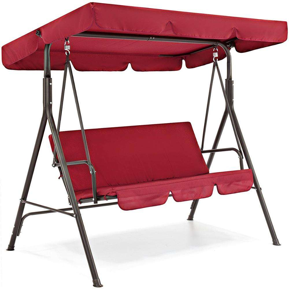 China Garden Swing Canopy, China Garden Swing Canopy Regarding 3 Person Red With Brown Powder Coated Frame Steel Outdoor Swings (View 24 of 25)