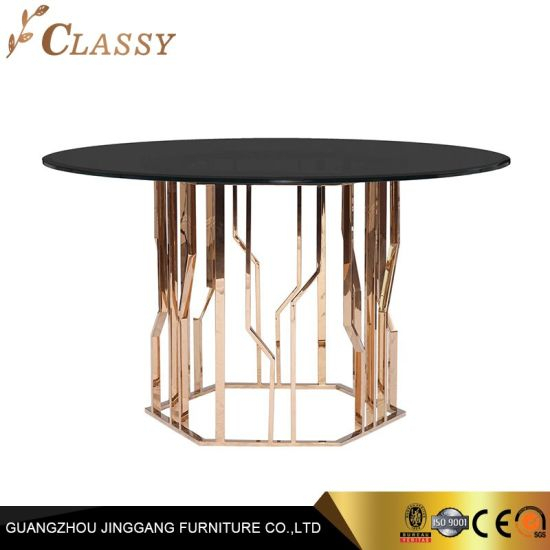 China Modern Round Dining Table Glass Top Metal Base – China Throughout Modern Round Glass Top Dining Tables (Image 5 of 25)