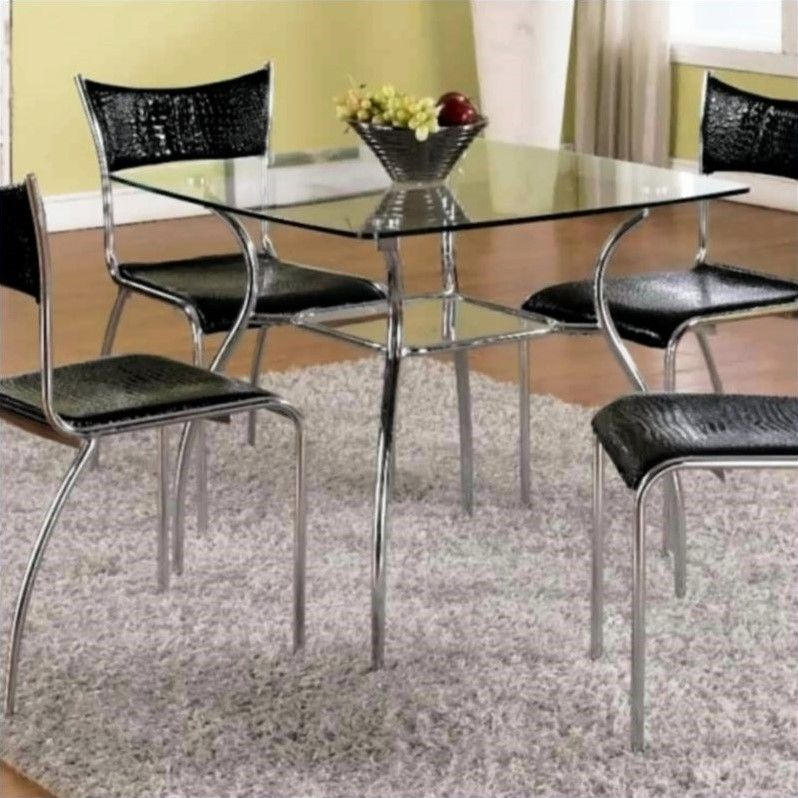 Chintaly Daisy Square Glass Top Dining Table In Chrome Regarding Eames Style Dining Tables With Chromed Leg And Tempered Glass Top (View 9 of 25)