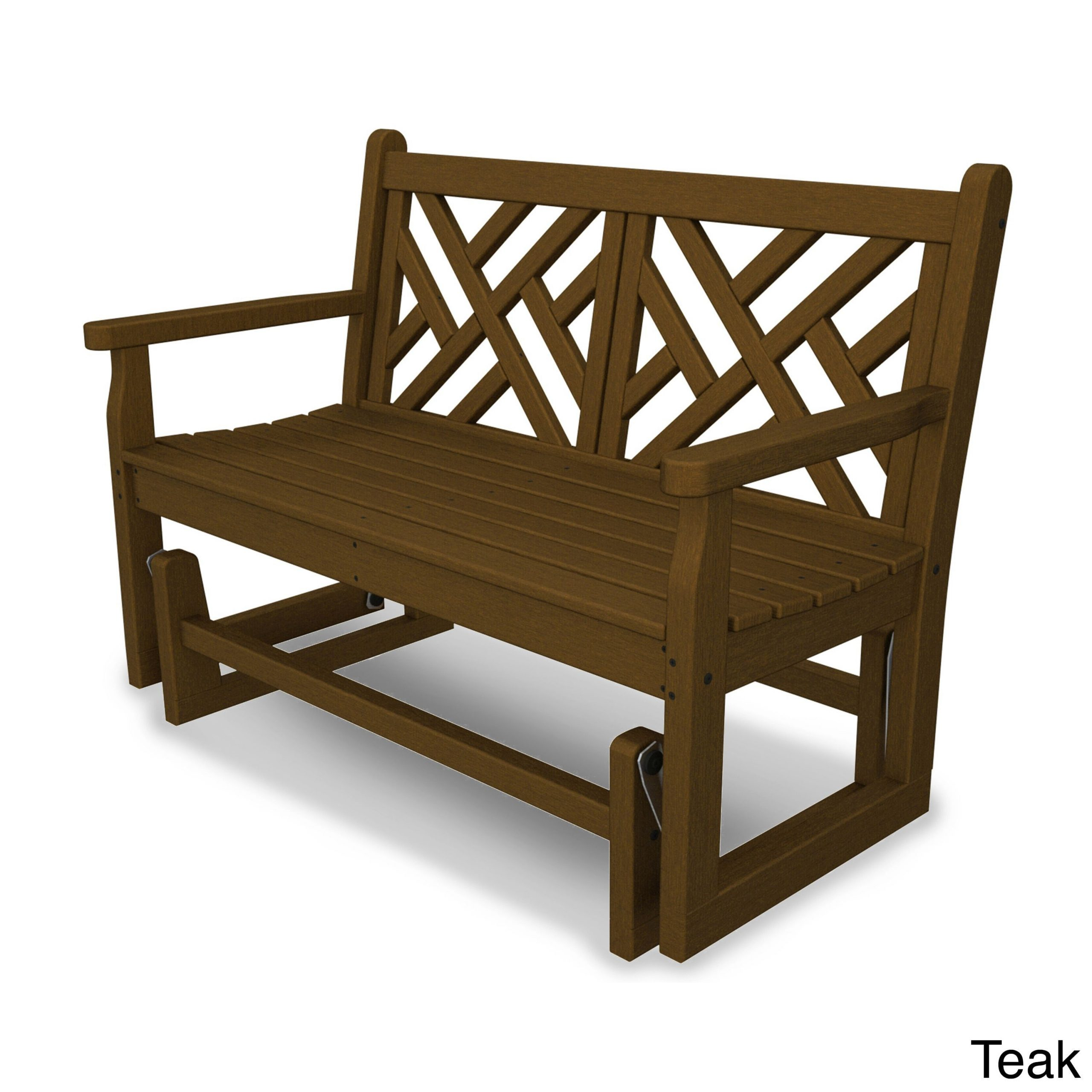 Chippendale Polywood Glider Bench (Teak), Brown, Patio With Teak Outdoor Glider Benches (View 9 of 25)