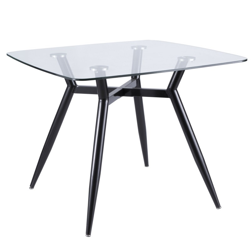 Clara Mid Century Modern Square Dining Table With Black Metal Legs And  Clear Glass Top With Mid Century Rectangular Top Dining Tables With Wood Legs (Image 2 of 25)