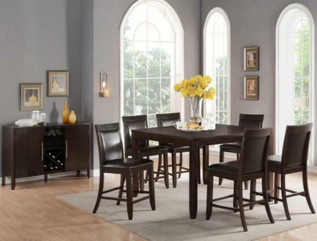 Classic Wood Veneers White Leatherette Dining Room Set7Pc Crown Mark Ariana  2768 Regarding Espresso Finish Wood Classic Design Dining Tables (Image 4 of 25)
