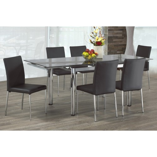 Clear Glass Modern Extendable Dining Table With Chrome Finish Metal Pillar  Legs Throughout Distressed Grey Finish Wood Classic Design Dining Tables (Image 7 of 25)