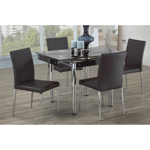 Clear Glass Modern Extendable Dining Table With Chrome Finish Metal Pillar Legs With Frosted Glass Modern Dining Tables With Grey Finish Metal Tapered Legs (View 4 of 25)