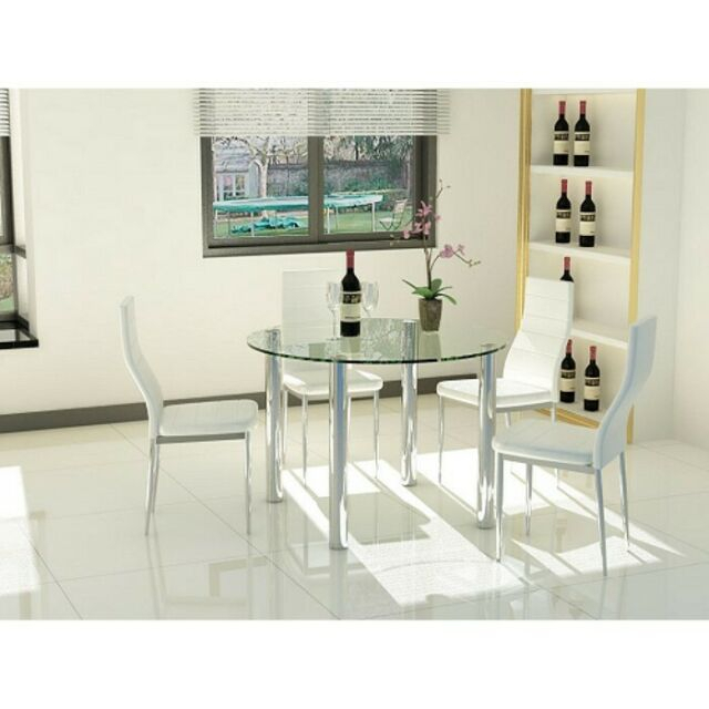 Clear Glass Round 4 Seater Dining Table With Chrome Legs Intended For 4 Seater Round Wooden Dining Tables With Chrome Legs (View 8 of 25)