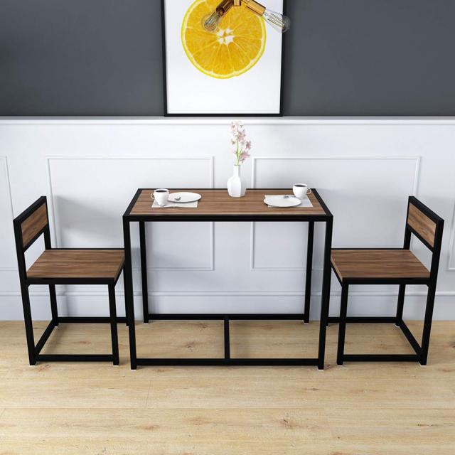 Clive 3 Piece Dining Table & Chairs Set In Walnut Colour With Black Steel Frame Pertaining To 3 Pieces Dining Tables And Chair Set (View 3 of 25)