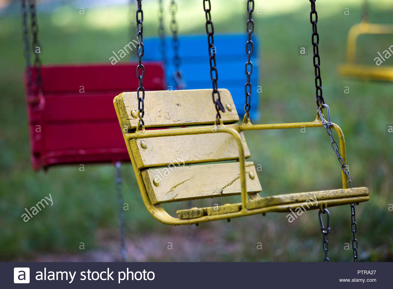 Close Up Empty Chain Swing Seats Stock Photos & Close Up Regarding Swing Seats With Chains (View 9 of 25)