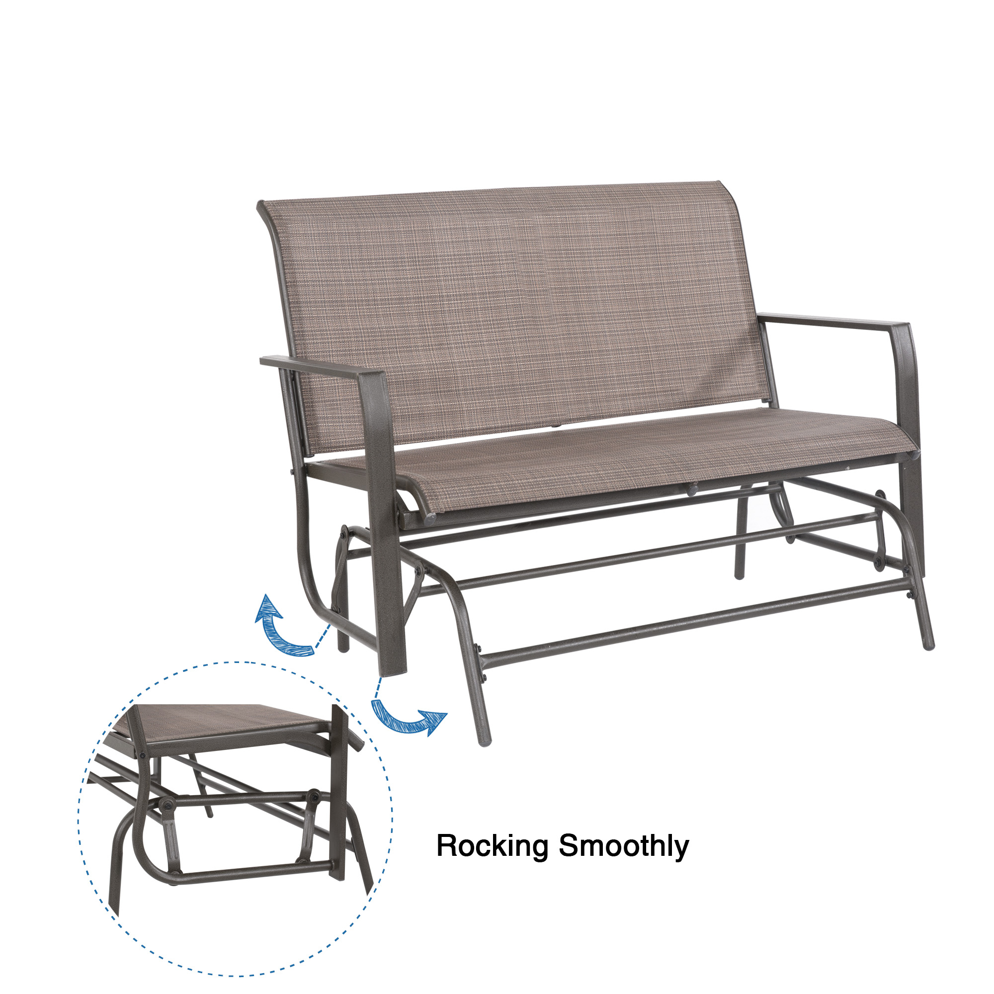 Cloud Mountain Patio Glider Bench Outdoor 2 Person Swing Inside 2 Person Loveseat Chair Patio Porch Swings With Rocker (View 17 of 25)