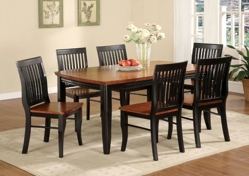 Cm3101T 7Pc 7 Pc Earlham I Antique Black / Oak Finish Wood With Antique Black Wood Kitchen Dining Tables (View 4 of 25)