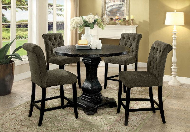 Cm3840Rpt 3564Gy 5Pc 5 Pc Nerissa Antique Black Finish Wood Within Antique Black Wood Kitchen Dining Tables (View 23 of 25)