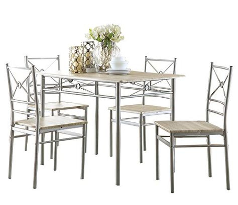 Coaster 100035 Home Furnishings 5 Piece Dining Set Brushed In Alamo Transitional 4 Seating Double Drop Leaf Round Casual Dining Tables (View 4 of 25)