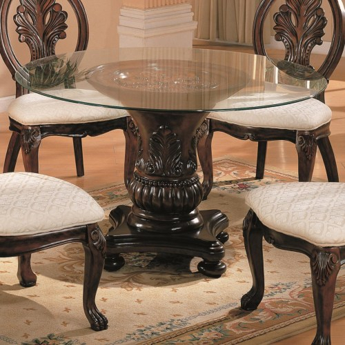 Coaster – 101030+Cb48Rd – Tabitha Traditional Round Dining With Regard To Round Dining Tables With Glass Top (View 19 of 25)